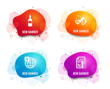 Liquid badges. Set of Wine, Santa boots and World money icons. Credit card sign. Merlot bottle, New year, Global markets. Loan percent.  Gradient wine icon. Flyer fluid design. Abstract shapes. Vector