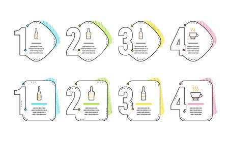 Wine, Champagne and bottle icons simple set. Espresso sign. Merlot bottle, Celebration drink, Brandy alcohol. Hot drink. Food and drink set. Infographic timeline. Line wine icon. Vector