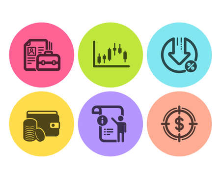 Payment method, Vacancy and Manual doc icons simple set. Candlestick graph, Loan percent and Dollar target signs. Wallet with coins, Hiring job. Business set. Flat payment method icon. Circle button Illustration
