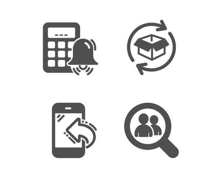 Set of Incoming call, Return parcel and Calculator alarm icons. Search employees sign. Phone support, Exchange of goods, Accounting. Staff analysis.  Classic design incoming call icon. Flat design Illustration