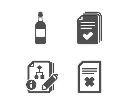 Set of Handout, Algorithm and Brandy bottle icons. Delete file sign. Documents example, Project, Whiskey. Remove document.  Classic design handout icon. Flat design. Vector Illustration