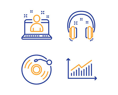 Headphones, Vinyl record and Best manager icons simple set. Graph sign. Earphones, Retro music, Best developer. Presentation diagram. Education set. Linear headphones icon. Colorful design set. Vector Illustration