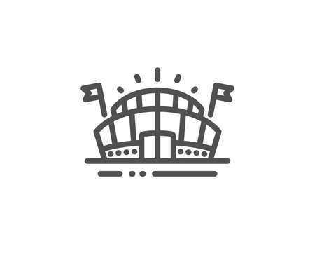 Icono de línea de arena deportiva. Estadio con signo de banderas. Símbolo del complejo deportivo. Elemento de diseño de calidad. Icono de arena deportiva de estilo lineal. Trazo editable. Vector Ilustración de vector