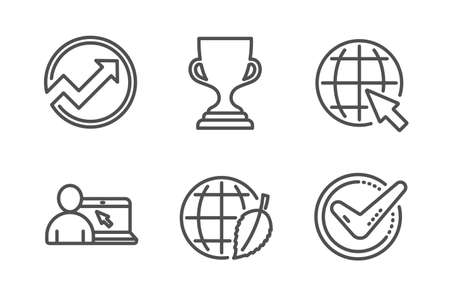 Internet, Online education and Award cup icons simple set. Environment day, Audit and Confirmed signs. World web, Internet lectures. Education set. Line internet icon. Editable stroke. Vector Ilustração