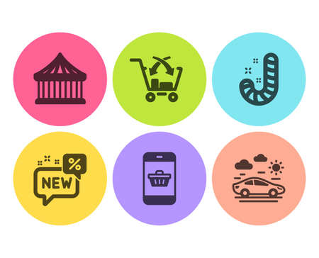 Carousels, Smartphone buying and New icons simple set. Candy, Cross sell and Car travel signs. Attraction park, Website shopping. Holidays set. Flat carousels icon. Circle button. Vector