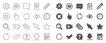 Document, Time, Calendar line icons. Question, Chat and Pencil icons. Cogwheel, Download calendar document, Attach clip. Mouse cursor, Magnifier and Shopping cart. Clock time, question mark. Vector Illustration