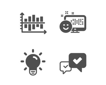 Set of Light bulb, Smile and Diagram chart icons. Approve sign. Lamp energy, Positive feedback, Presentation graph. Accepted message.  Classic design light bulb icon. Flat design. Vector