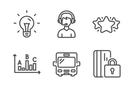 Star, Bus and Idea icons simple set. Consultant, Survey results and Blocked card signs. Favorite, Tourism transport. Business set. Line star icon. Editable stroke. Vector Illustration