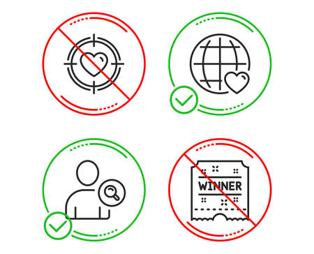 Do or Stop. Find user, Valentine target and International love icons simple set. Winner ticket sign. Search person, Heart in aim, Internet dating. Carousels award. Line find user do icon. Vector