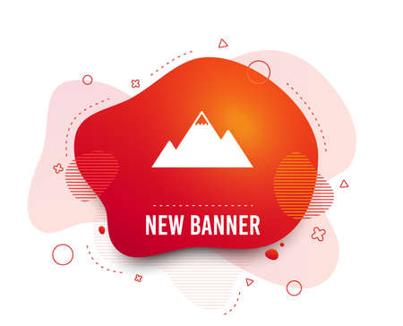 Fluid badge. Mountain icon. Mountaineering sport sign. Leadership motivation concept. Abstract shape. Gradient mountain icon. Flyer liquid banner. Vector