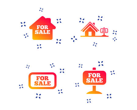 For sale icons. Real estate selling signs. Home house symbol. Random dynamic shapes. Gradient real estate icon. Vector