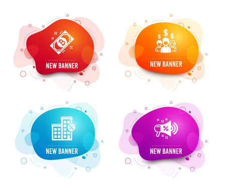 Liquid badges. Set of Salary employees, Loan house and Bitcoin icons. Sale megaphone sign. People earnings, Discount percent, Cryptocurrency coin. Shopping.  Gradient salary employees icon. Vector