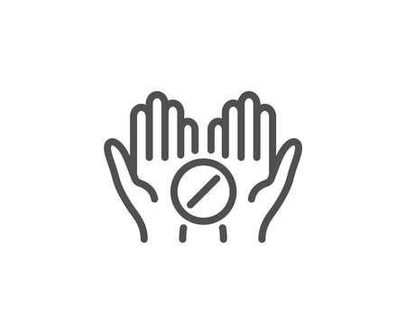 Medical tablet line icon. Medicine drugs sign. Pharmacy medication symbol. Quality design element. Linear style medical tablet icon. Editable stroke. Vector 向量圖像