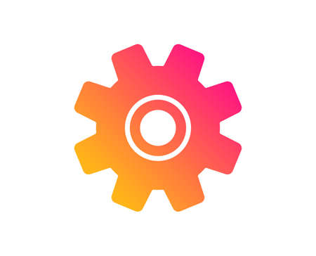 Cogwheel icon. Service sign. Transmission Rotation Mechanism symbol. Classic flat style. Gradient service icon. Vector Illustration