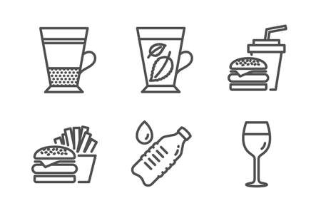 Double latte, Mint leaves and Hamburger icons simple set. Water bottle, Burger and Wine glass signs. Tea cup, Mentha leaf. Food and drink set. Line double latte icon. Editable stroke. Vector