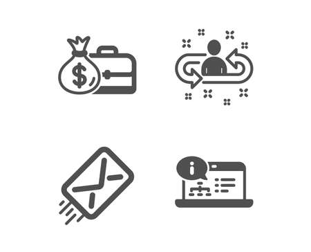 Set of E-mail, Salary and Recruitment icons. Online documentation sign. Mail delivery, Diplomat with money bag, Manager change. Web engineering.  Classic design e-mail icon. Flat design. Vector