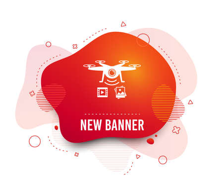 Fluid badge. Drone icon. Quadrocopter with video and photo camera symbol. Abstract shape. Gradient drone icon. Flyer liquid banner. Vector