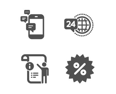 Set of Communication, 24h service and Manual doc icons. Discount sign. Smartphone messages, Call support, Project info. Special offer.  Classic design communication icon. Flat design. Vector Illustration