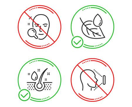 Türstopper. Symbole für Serumöl, Blatttau und Gesichtssuche sind einfach eingestellt. Gesicht-ID-Zeichen. Gesunde Haare, Wassertropfen, Benutzer finden. Identifikationssystem. Gesundheitswesen eingestellt. Linie Serum-Öl-Symbol. Verbotener Verbotsstopp