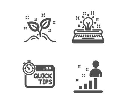 Set of Startup concept, Quick tips and Typewriter icons. Stats sign. Launch project, Helpful tricks, Inspiration. Business analysis.  Classic design startup concept icon. Flat design. Vector