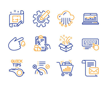 Prescription drugs, No internet and Cloud storage icons simple set. Computer keyboard, Architect plan and Seo shopping signs. Gift, Blood donation and Tutorials symbols. Line prescription drugs icon