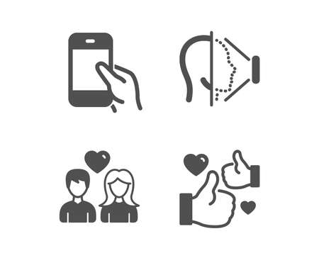 Set of Hold smartphone, Couple love and Face id icons. Like sign. Phone call, People in love, Phone scanning. Thumbs up.  Classic design hold smartphone icon. Flat design. Vector