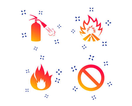 Fire flame icons. Fire extinguisher sign. Prohibition stop symbol. Random dynamic shapes. Gradient extinguisher icon. Vector Illustration