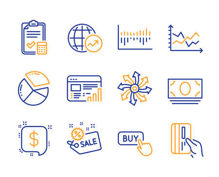 World statistics, Column diagram and Buy button icons simple set. Payment message, Versatile and Sale signs. Accounting checklist, Cash money and Web report symbols. Line world statistics icon