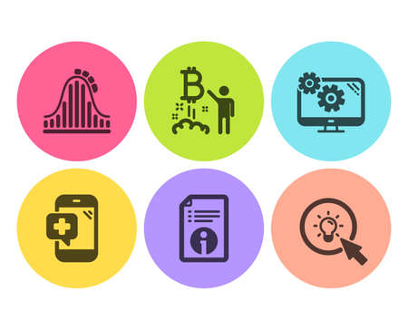 Settings, Medical phone and Roller coaster icons simple set. Technical info, Bitcoin project and Energy signs. Cogwheel tool, Mobile medicine. Business set. Flat settings icon. Circle button. Vector