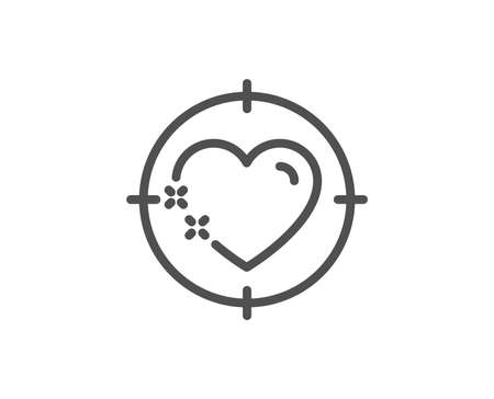 Heart target line icon. Love emotion aim sign. Valentine day symbol. Quality design element. Linear style heart target icon. Editable stroke. Vector Ilustrace