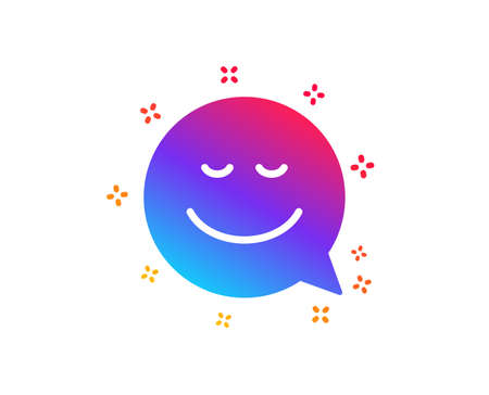 Comic speech bubble with Smile icon. Chat emotion sign. Dynamic shapes. Gradient design smile icon. Classic style. Vector