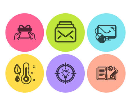 Give present, Idea and Thermometer icons simple set. Mail, Computer mouse and Engineering documentation signs. Receive a gift, Solution. Business set. Flat give present icon. Circle button. Vector Stockfoto - 122814824