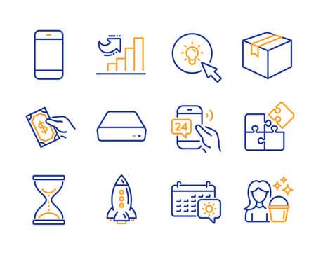 Ensemble simple d'icônes Smartphone, Rocket et Puzzle. Payez de l'argent, un service 24h / 24 et des panneaux Mini pc. Sablier de temps, calendrier de voyage et symboles d'énergie. Colis, Carnet de croissance et Nettoyage. Icône de ligne de smartphone