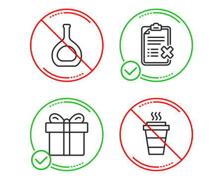 Do or Stop. Gift box, Cognac bottle and Reject checklist icons simple set. Takeaway sign. Present package, Brandy alcohol, Decline file. Takeout coffee. Line gift box do icon. Prohibited ban stop