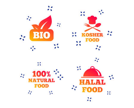 100% Natural Bio food icons. Halal and Kosher signs. Chief hat with fork and spoon symbol. Random dynamic shapes. Gradient bio icon. Vector