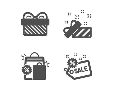 Set of Present, Gift and Shopping bags icons. Sale sign. Gift, Present, Sale discount. Shopping tag.  Classic design present icon. Flat design. Vector