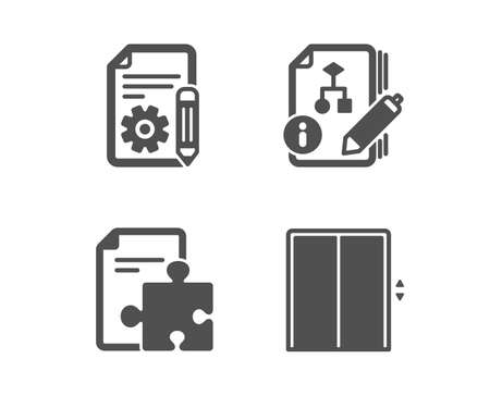 Set of Algorithm, Documentation and Strategy icons. Lift sign. Project, Puzzle, Elevator. Classic design algorithm icon. Flat design. Vector