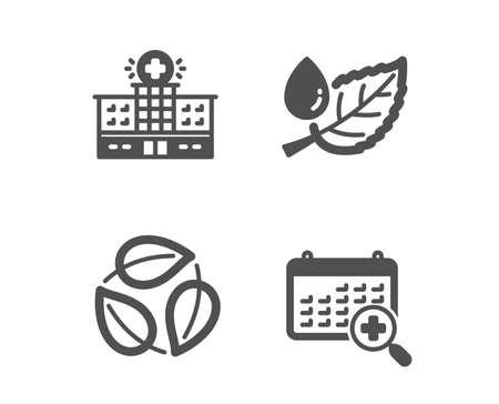 Set of Leaf dew, Leaves and Hospital building icons. Medical calendar sign. Water drop, Nature leaf, Medical help. Doctor appointment.  Classic design leaf dew icon. Flat design. Vector