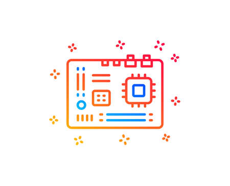 Motherboard line icon. Computer component hardware sign. Gradient design elements. Linear motherboard icon. Random shapes. Vector