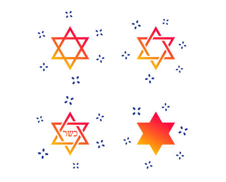 Star of David sign icons. Symbol of Israel. Random dynamic shapes. Gradient kosher icon. Vector