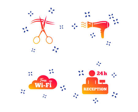 Hotel services icons. Wifi, Hairdryer in room signs. Wireless Network. Hairdresser or barbershop symbol. Reception registration table. Random dynamic shapes. Gradient service icon. Vector