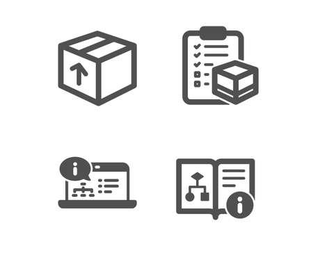Set van pakket, online documentatie en pakket checklist pictogrammen. Technisch algoritme teken. Leveringspakket, webengineering, logistieke controle. Projectdoc. Klassiek ontwerp pakketpictogram. Plat ontwerp