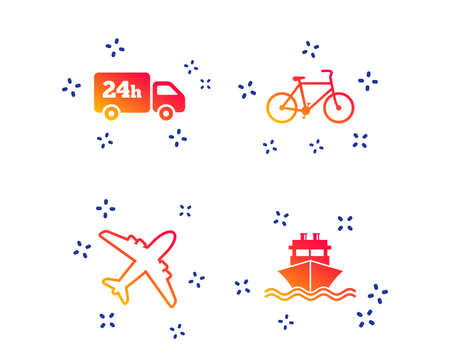 Cargo truck and shipping icons. Shipping and eco bicycle delivery signs. Transport symbols. 24h service. Random dynamic shapes. Gradient transport icon. Vector