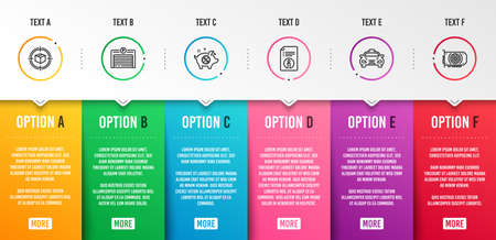 Piggy sale, Parking garage and Technical info icons simple set. Parcel tracking, Taxi and Gpu signs. Discounts, Automatic door. Business set. Infographic template. 6 steps timeline. Business options