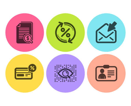 Financial documents, Open mail and Cashback icons simple set. Loan percent, Artificial intelligence and Id card signs. Check docs, View e-mail. Technology set. Flat financial documents icon. Vector 向量圖像