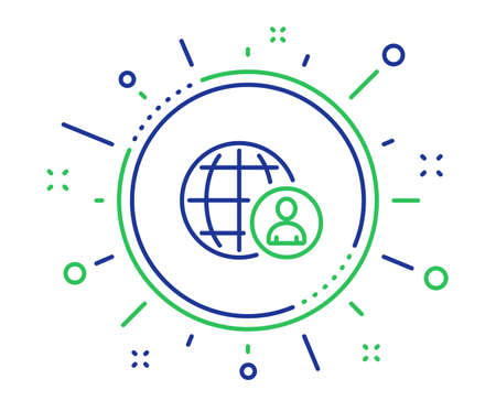 International business recruitment line icon. Global human resources sign. Quality design elements. Technology international recruitment button. Editable stroke. Vector