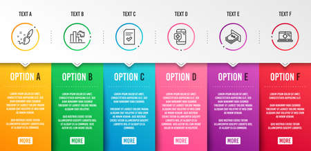 Checked file, Medical phone and Paint brush icons simple set. Atm money, Decreasing graph and Seo laptop signs. Correct document, Mobile medicine. Business set. Infographic template. 6 steps timeline