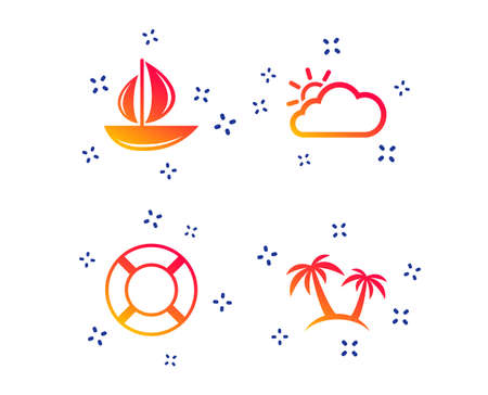 Travel icons. Sail boat with lifebuoy symbols. Cloud with sun weather sign. Palm tree. Random dynamic shapes. Gradient yacht icon. Vector Ilustração