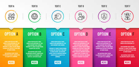 Search people, Face detect and Working hours icons simple set. Security, Cleaning and Support consultant signs. Find profile, Select target. People set. Infographic template. 6 steps timeline. Vector Çizim