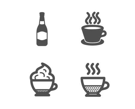 Set of Cappuccino cream, Beer bottle and Tea cup icons. Doppio sign. Coffee with whipped cream, Brewery, Coffee mug.  Classic design cappuccino cream icon. Flat design. Vector Çizim